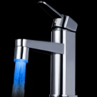 01-A9 RGB Color LED Water Temperature Shower Faucet Light - Silver