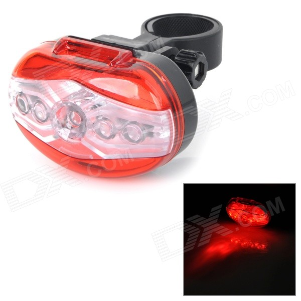 RAYPAL PPL-2258 7-Mode 5-LED Red Light Bike Bicycle Warning Taillight / Caution Lamp - Red (2 x AAA)