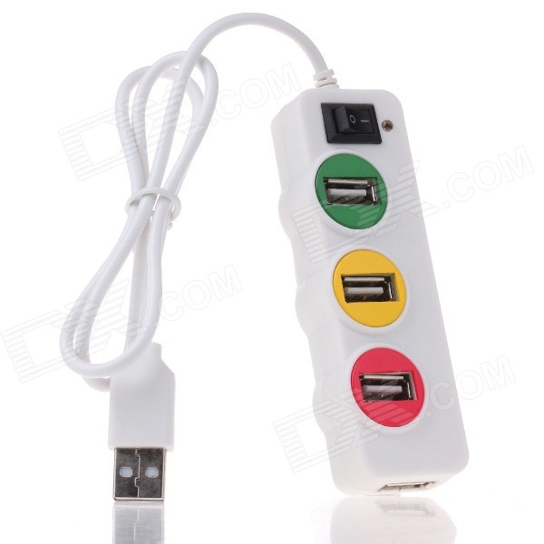 P-1030 Universal Traffic Light Style 4-Port USB 2.0 HUB w/ Indicator - White