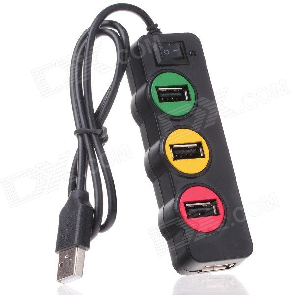P-1030 Universal Traffic Light Style 4-Port USB 2.0 HUB w/ Indicator - Black