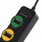 P-1030 Universal Traffic Light Style 4-Port Hub USB 2.0 w / Indicateur - Noir