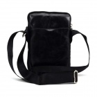 PU Single Shoulder Bag Satchel w/ Zipper + Strap for IPAD MINI - Black