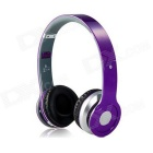 S450 Foldable Wireless Stereo Bluetooth V2.1 + EDR Headband Headphone w/ FM / TF / Mic. - Purple