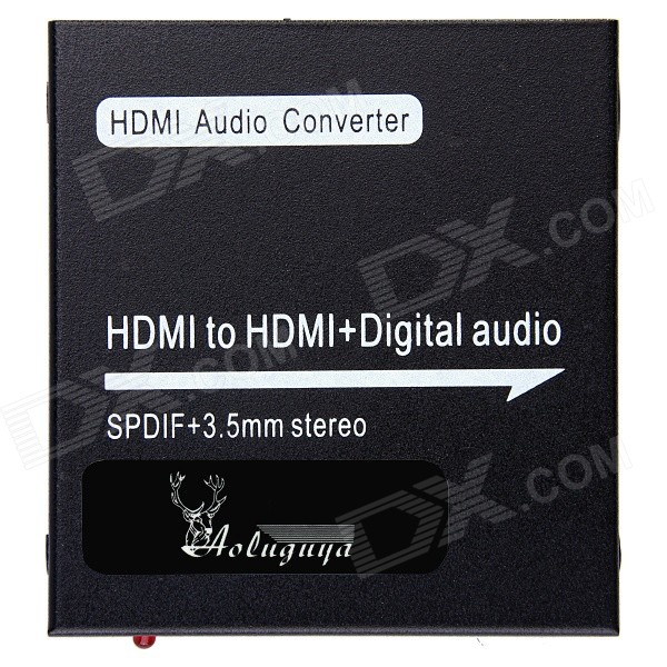 AOLUGUYA 1080P HDMI to HDMI + Digital Audio Converter w/ Support SPDIF + COAXIAL + 3.5mm Stereo 2 to 4 full hd 1080p w deep color hd audio 3d hdmi splitter aux spdif black 2 in 4 out