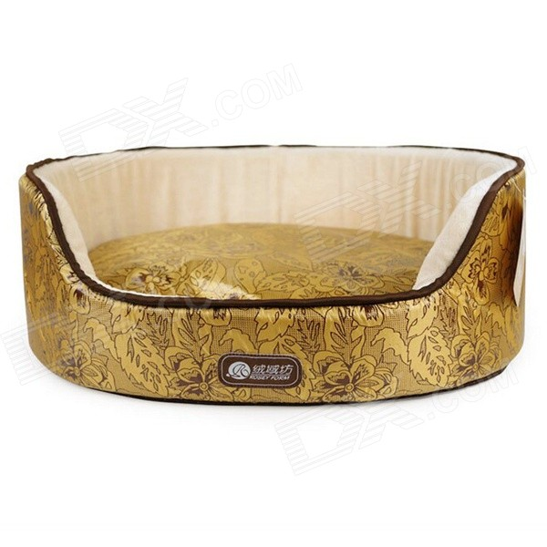 YDL-WA4007-H-M Flowers Patterned Stylish Nest Bed for Pet Cat / Dog - Gold + Multi-Colored (M)
