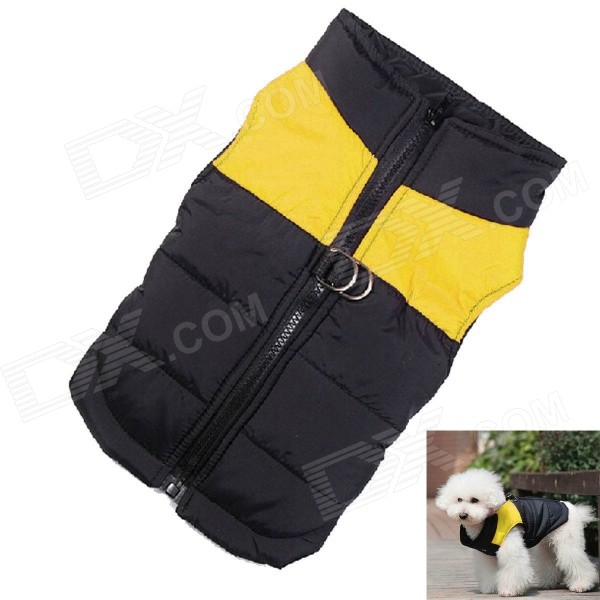 Water-resistant Quilted Padded Warm Winter Coat Jacket for Pet Dog - Yellow + Black (Size M) japanese kimono style coat for pet cat dog black pink size m