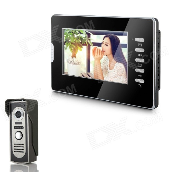 "XYY-V70D-M2 7"" TFT Color Video Door Phone System w/ Rainproof Cover / Night Vision Camera - Black"