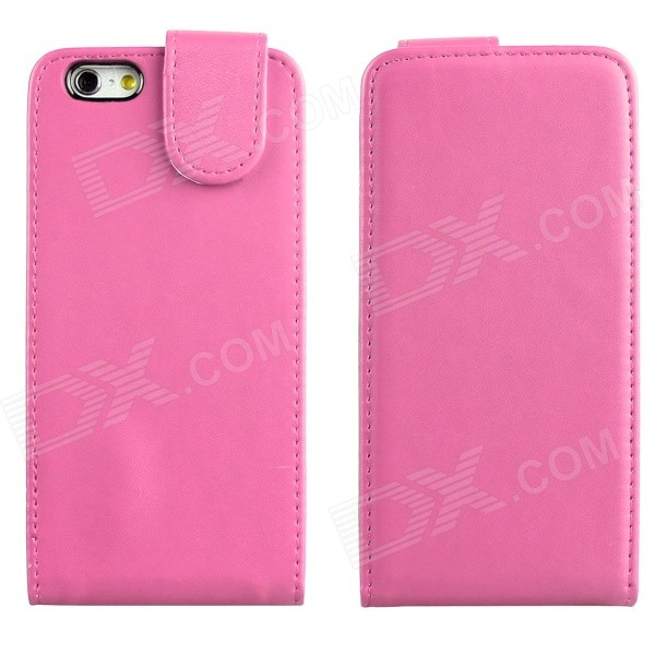 ENKAY Protective Top Flip Open PU Leather + Plastic Case for IPHONE 6 4.7 - Pink protective flip open pu leather case for iphone 4 4s pink