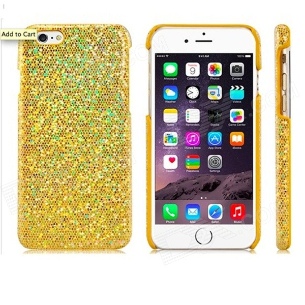 Stunning Flashing Paillette Decorated Plastic Back Case for IPHONE 6 4.7 - Golden nillkin protective matte plastic back case w screen protector for iphone 6 4 7 golden