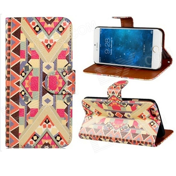 Tribal Pattern PU + PC Flip Open Case w/ Stand / Card Slots for IPHONE 6 4.7 - Multi-Color cute owl pattern pu leather flip open case w stand card slot for iphone 4 4s multi color