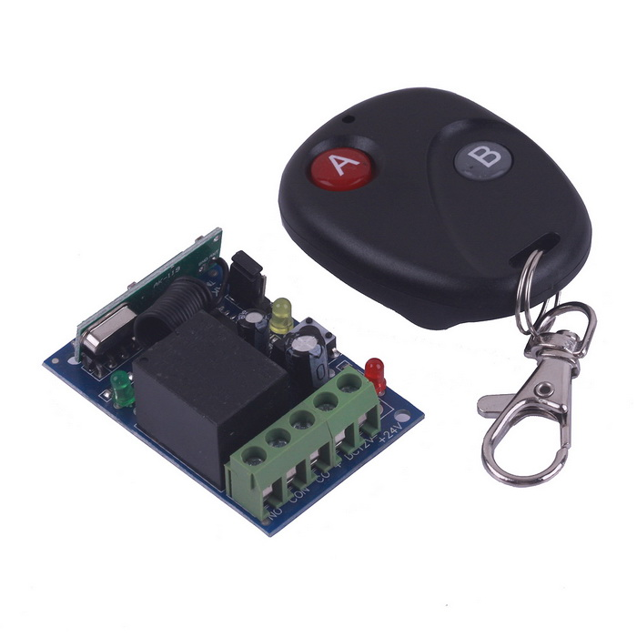 ZnDiy-BRY RF DC12V 1-CH Learning Code Remote Control Switch w/ Controller - Black zndiy bry rf dc12v 1 ch learning code remote control switch w controller black