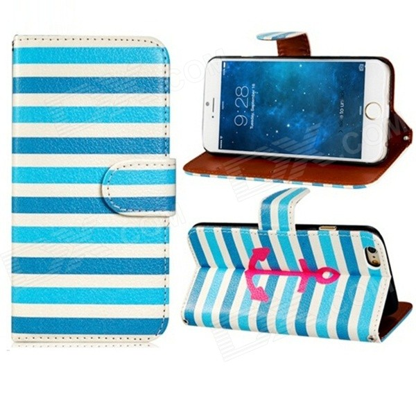 Anchor Patterned Flip-Open PU + PC Case w/ Stand + Card Slot for IPHONE 6 4.7 - Blue + White xiaomi redmi note5a 4гб 64гб китайская версия