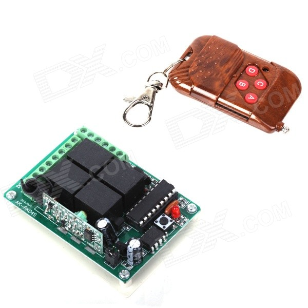 ZnDiy-BRY DC 12V 4-CH Learning Code Remote Control Switch Kit - Brown