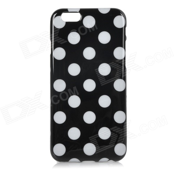 Stylish Polka Dot Style Protective Silicone Back Case Cover for IPHONE 6 4.7 - Black + White protective silicone soft back case cover for iphone 5 white