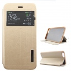 "Ultra-thin PU + TPU Flip-open Case w/ Stand / Display Window for IPHONE 6 PLUS 5.5"" - Golden"