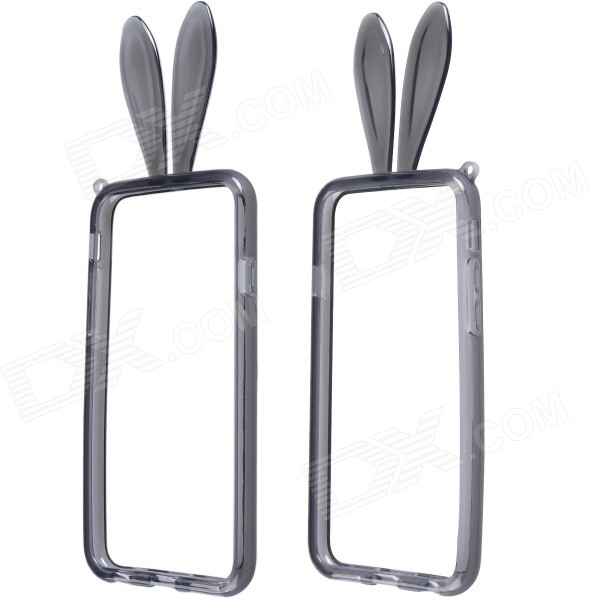 Lovely Rabbit Ear Style Protective TPU Bumper Frame w/ Strap for IPHONE 6 4.7 - Black