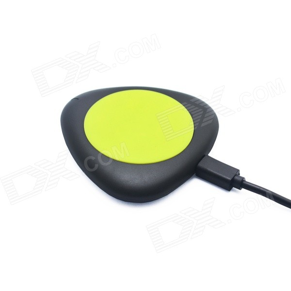 T500 Mini QI Wireless Charger for QI Mobile Phone - Black + Yellow universal qi wireless charger for cellphone white eu plug