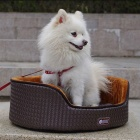 YDL-WA4006-M Fashionable Leather Style Nest Bed for Pet Cat / Dog - Deep Wine Red + Brown (Size M)