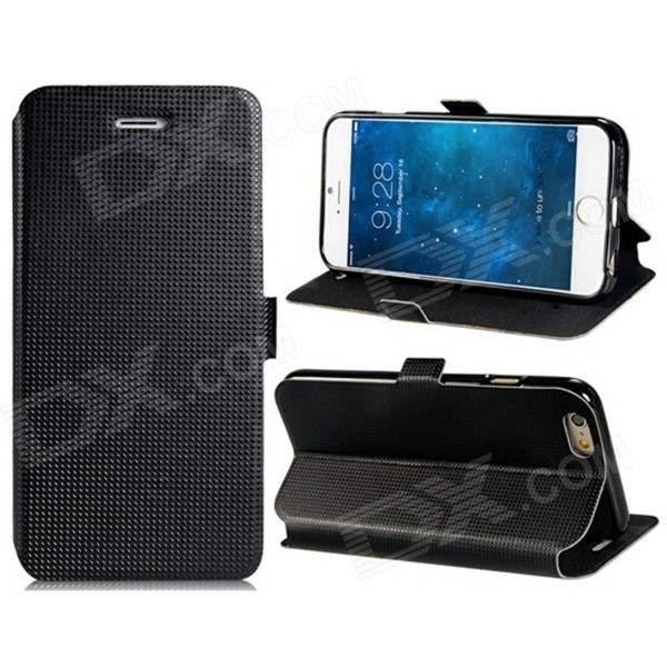 Stylish Faux Leather + TPU Flip Open Case w/ Stand / Card Slots for IPHONE 6 4.7 - Black