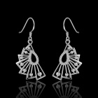 Women's Fashionable Silver-plated Brass Rhinestone-studded Pendant Earrings - Silver (Pair)