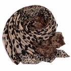 Women's Leopard Patterned Stylish Chiffon Scarf Wrap Shawl - Coffee (150 x 42cm)