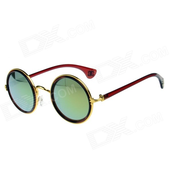 Stylish Retro Round Stainless Steel Frame PC Lens UV400 Sunglasses - Golden + Brown