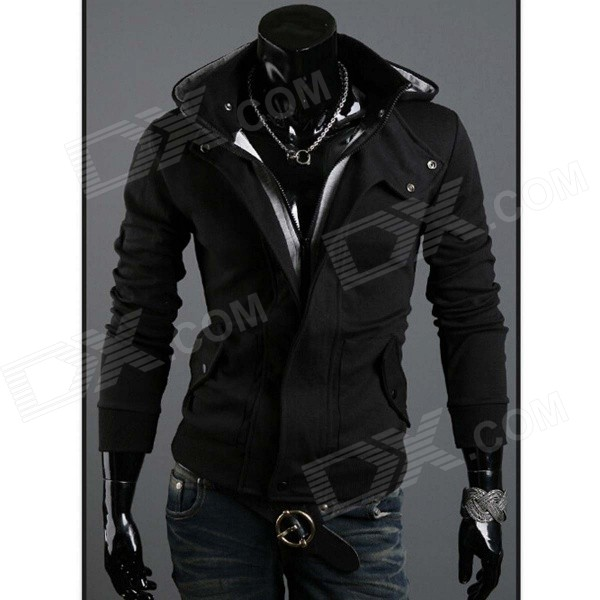 Mens Fashionable Slim Fit Zippered Long-sleeved Cotton Outwear Coat w/ Cap - Black (XL)Jackets and Coats<br>Form ColorBlackSizeXLQuantity1 DX.PCM.Model.AttributeModel.UnitShade Of ColorBlackMaterialCottonStyleCasualTop FlyZipperShoulder Width43 DX.PCM.Model.AttributeModel.UnitChest Girth100 DX.PCM.Model.AttributeModel.UnitSleeve Length63 DX.PCM.Model.AttributeModel.UnitTotal Length68 DX.PCM.Model.AttributeModel.UnitSuitable for Height175~180 DX.PCM.Model.AttributeModel.UnitPacking List1 x Coat<br>