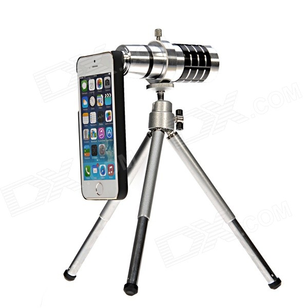 High Definition HD 12X Lens Telescope Camera w/ Telescopic Tripod for IPHONE 5 / 5S / 5C 4x 12x zoom telescope 4x adjustable 12x telephoto tripod camera lens photo digital magnification for samsung mini plus s7 a j s6