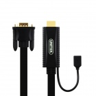 UNITEK Y-5303 HDMI to VGA Flat Cable w/ Micro USB Female Port - Black (1.5m)