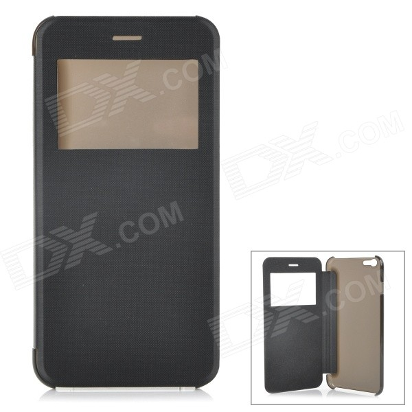 "Protective Flip-Open ABS Full Body Case Cover w/ View Window for IPHONE 6 PLUS 5.5"" - Black"