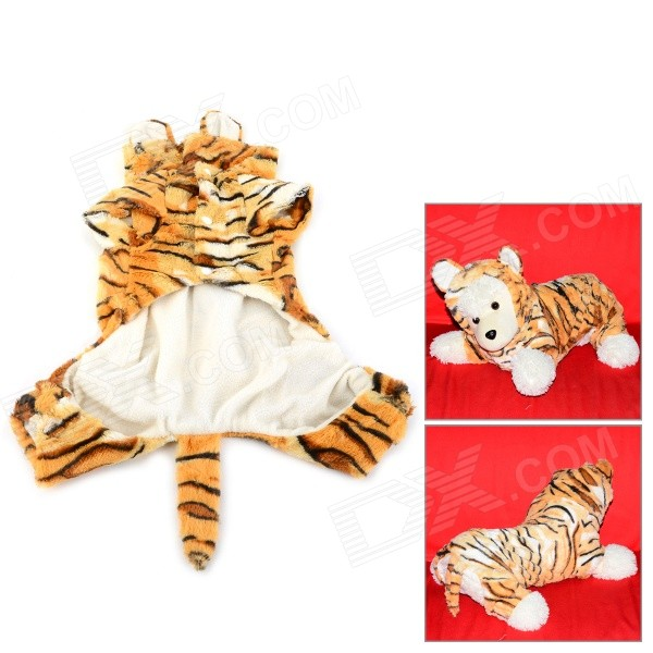 Halloween Tiger Style Cotton Coat for Pet Cat / Dog - Yellow + White (Size M) adjustable pet dog cat handsome decorative necktie blue black white size m