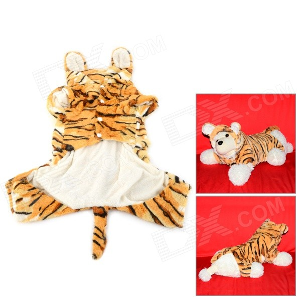 Halloween Tiger Style Cotton Coat for Pet Cat / Dog - Yellow + White (Size S) love letter pattern cotton coat hoody for pet dog cat deep pink