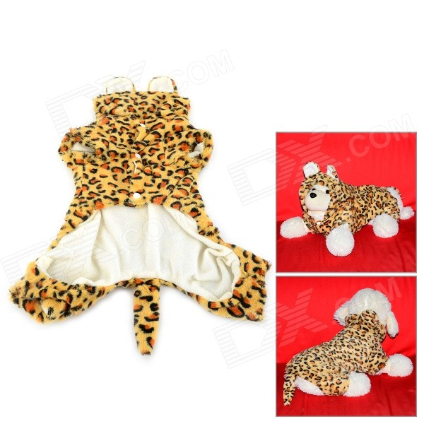 Leopard Pattern Halloween Cotton Coat for Pet Cat / Dog - Yellow + Brown (Size M) pet carrier bag for cat dog medium size brown
