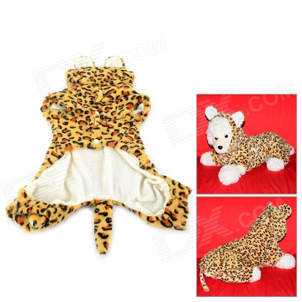 Leopard Pattern Halloween Cotton Coat for Pet Cat / Dog - Yellow + Brown (Size XL) pet carrier bag for cat dog medium size brown