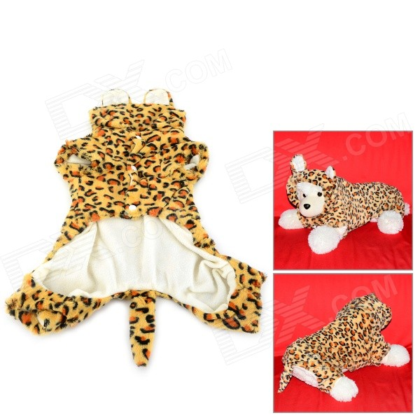 Leopard Pattern Halloween Cotton Coat for Pet Cat / Dog - Yellow + Brown (Size L) pet carrier bag for cat dog medium size brown
