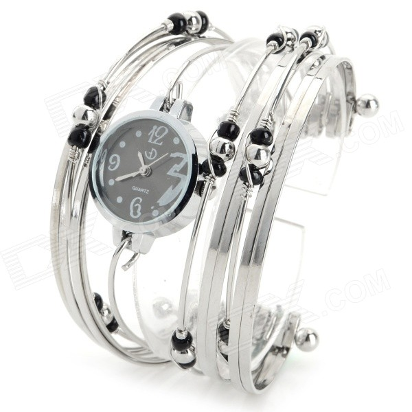 Stylish Women's Zinc Alloy Quartz Analog Wrist Watch / Bracelet w/ Beads - Silver + Black (1 x 377) stylish bracelet band quartz wrist watch golden silver 1 x 377