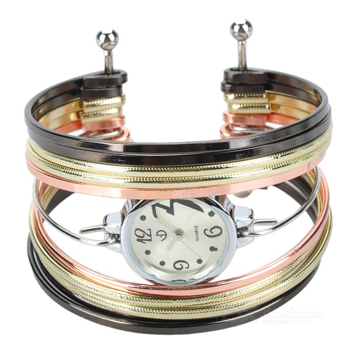 Stylish Zinc Alloy Quartz Analog Wrist Watch / Bracelet for Women - Golden + Multicolored (1 x 626) stylish bracelet band quartz wrist watch golden silver 1 x 377