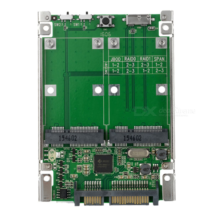 "2.5"" SATA 6G / USB 3.0 to 2 x mSATA Solid State Drive Array Card - Green + Black"