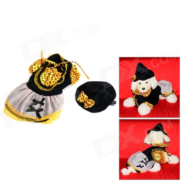 Halloween Witch Style Cotton Coat + Cap Suit for Pet Cat / Dog - Black + Yellow (Size XL) love letter pattern cotton coat hoody for pet dog cat deep pink