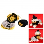 Halloween Witch Style Cotton Coat + Cap Suit for Pet Cat / Dog - Black + Yellow (Size XL)