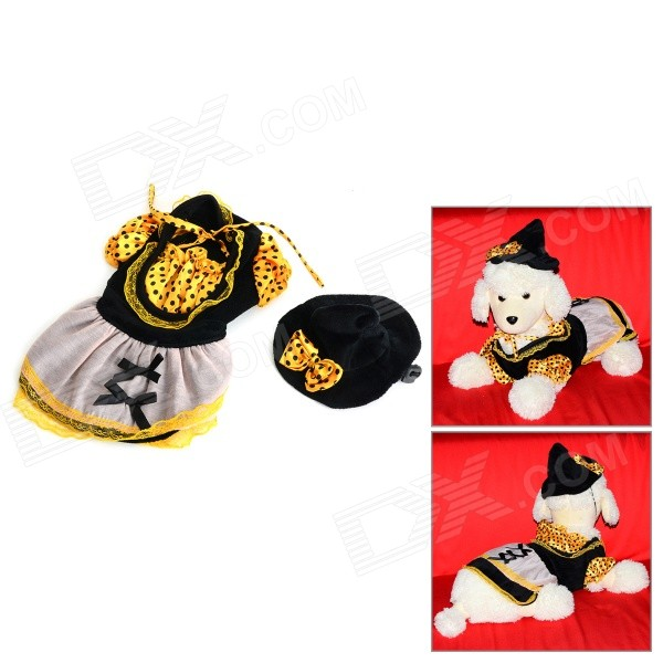 Halloween Witch Style Cotton T-shirt + Cap Suit for Pet Cat / Dog - Black + Yellow (Size M) adjustable pet dog cat handsome decorative necktie blue black white size m