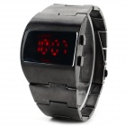 HZ-38 Men's Zinc Alloy Digital Wrist Watch w/ Red LED - Silvery Black (1 x CR2032)