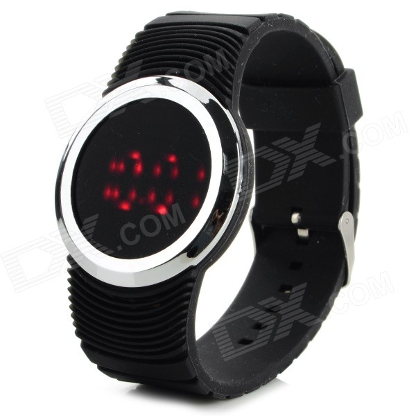 HZ-41 Plastic Case Silicone Band Digital Wrist Watch w/ Red LED - Black (1 x CR2016)