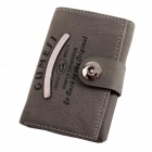 European and American Style Vertical Square Imitation Leather Wallet Purse - Dark Grey + Black