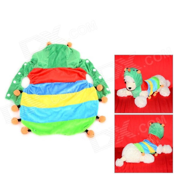 Halloween Colorful Caterpillar Style Cotton Coat for Pet Cat / Dog - Yellow + Light Blue (M) super soft frisbee ufo style silicone indoor outdoor toy for pet dog light green