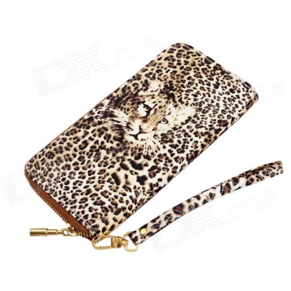 Women's Leopard Style Fashionable Imitation Leather Wallet Purse - Yellow + Leopard