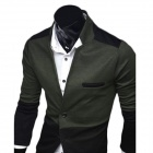 1411B-X16 Men's Fashion V-Neck Knited Stitching Sweater - Army Green + Gray (L)