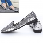 Women's Stylish Paillette Flat Shoes - Silver (Pair / Size 37)