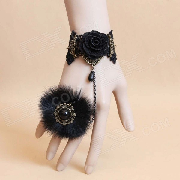 Fashionable Bracelet Ring for Halloween / Costume Party - Black (5PCS) yeduo black sexy lady lace mask for masquerade halloween party fancy dress costume