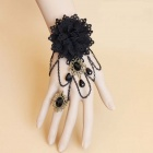 Black Rose Ornament Bracelet Ring for Halloween / Costume Party - Black (5PCS)